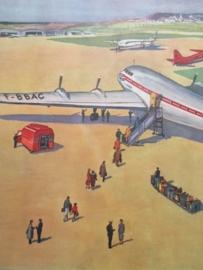 Oude schoolplaat met vliegveld / vliegtuig SOLD
