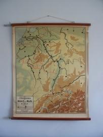 Oude schoolplaat stroomgebied Maas en Rijn Sold