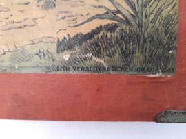 Oude schoolplaat met zwaan