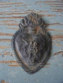 Antiek Frans zilveren hart (ex voto) SOLD