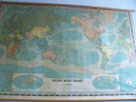 Oude schoolplaat Wereldkaart XXL SOLD