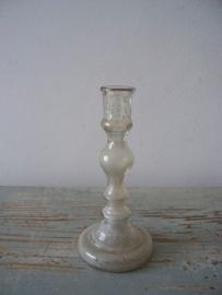 Oud Armeluiszilver/zilverglas kandelaartjes SOLD