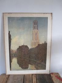 Oude schoolplaat van de dom in Utrecht SOLD