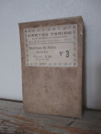 Oude Franse fiets en auto kaart plattegrond van Parijs SOLD