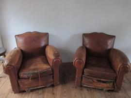 Oude leren fauteuils SOLD