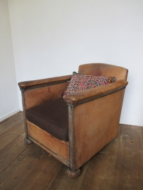 Oude leren fauteuil SOLD