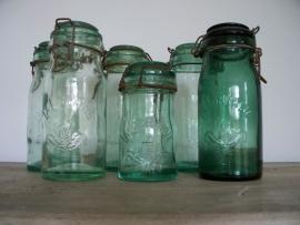 Oude glazen potten loirraine SOLD