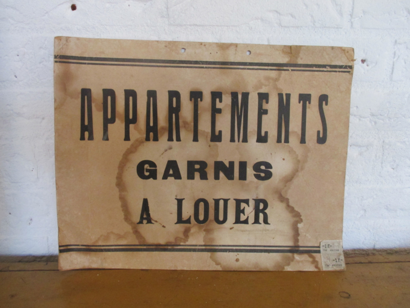 Oude Franse reclameplaat / verhuur