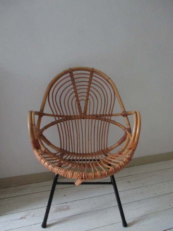 Oude rotan rohe stoel vintage SOLD
