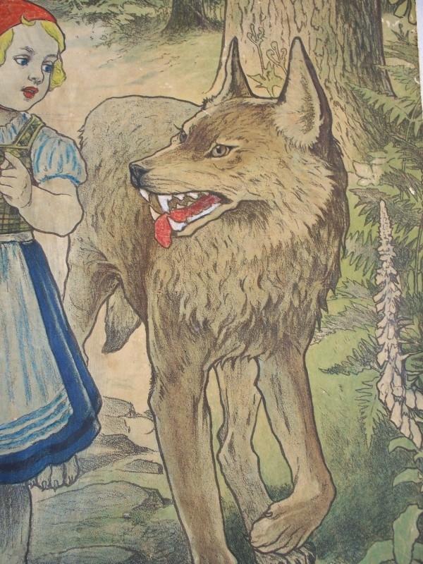 Onwijs Oude schoolplaat roodkapje en de wolf SOLD | sold | sjebbiez ED-19
