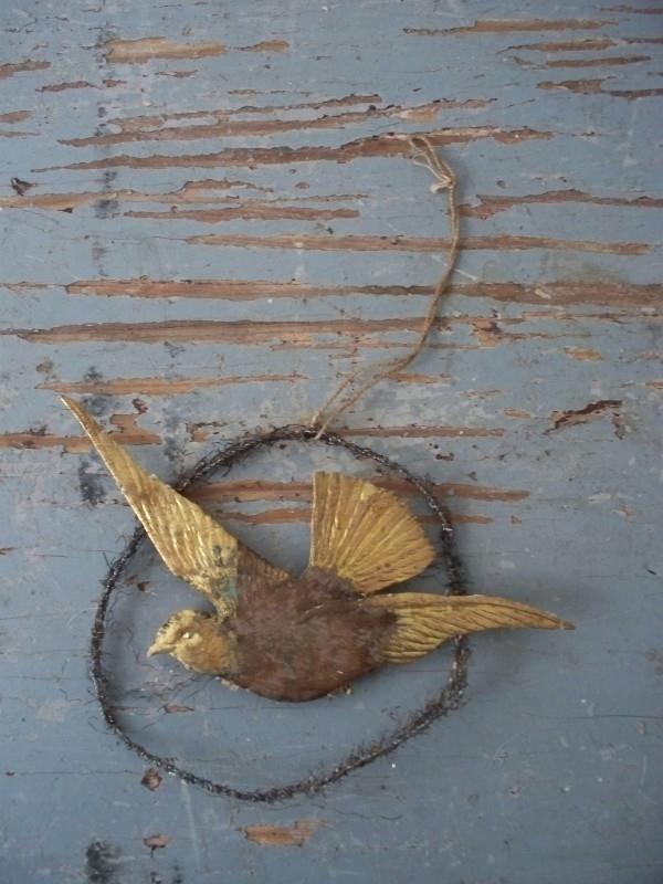 Oude tinsel kersthanger/ bal vogel SOLD