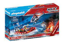 Brandweermissie met helikopter en boot 70335