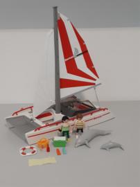 Catamaran met dolfijnen (13792)