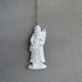 Kerstman hanger wit, kerstboom rechts