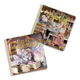 Set van 2 kartonboekjes Verjaardag-Drieling