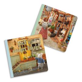 Set van 2 kartonboekjes Dit is mijn huis-Dit is mijn straat