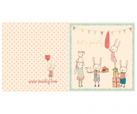 Dubbele kaart, Bunny Party+enveloppe