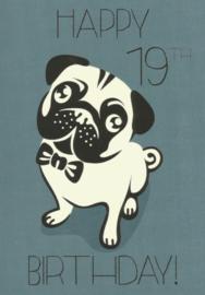 43 01901 - Luxe wenskaart verjaardag 19 jaar