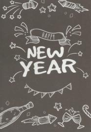 97 0008 -  Luxe wenskaart happy new year