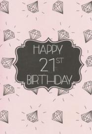 43 02101 - Luxe wenskaart verjaardag 21 jaar