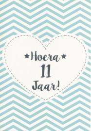 43 01101 - Luxe wenskaart verjaardag 11 jaar