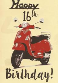 43 01601 - Luxe wenskaart verjaardag 16 jaar