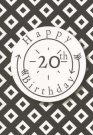 43 02001 - Luxe wenskaart verjaardag 20 jaar