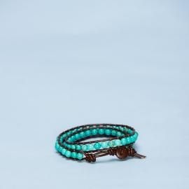Dubbele armband turquoise met kokosnootsluiting
