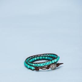 Dubbele armband turquoise met metalen sluiting