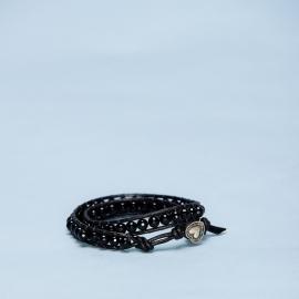Dubbele armband onyx met metalen hart sluiting
