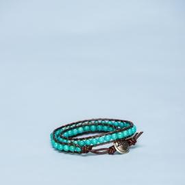 Dubbele armband turquoise met metalen hart sluiting