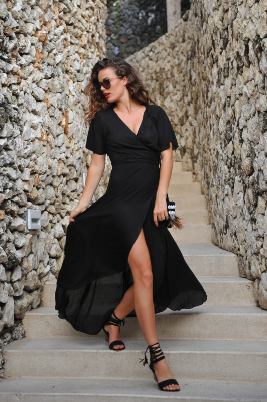 Wrapdress Dani Long Black HOT LAVA
