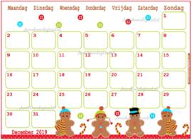 December 2019 kalender serie Kawaii