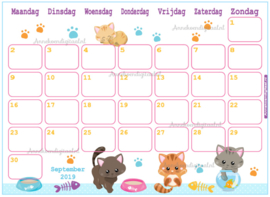 September 2019 kalender thema Dieren