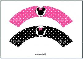 Minnie Mouse Cupcake wrapper fuchsia en zwart