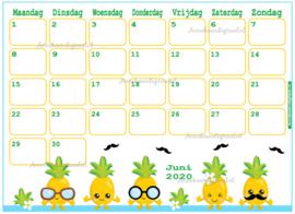 Juni 2020 kalender serie Kawaii