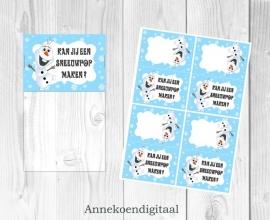 Frozen Olaf traktatie zakje label
