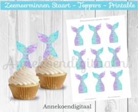 Zeemeerminnen staart Cupcake toppers