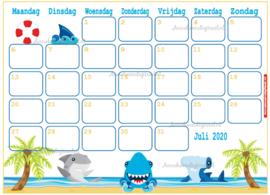 Juli 2020 kalender serie Jongens