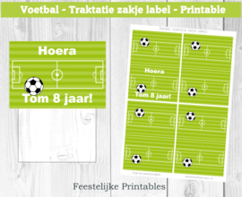 Voetbal traktatie zakje label
