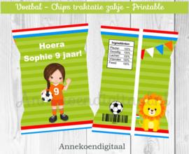 Voetbal meisje chips traktatie zakje (2)