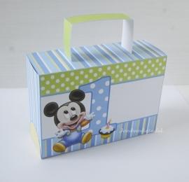 Mickey Mouse 1ste verjaardag traktatie koffertje