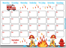 September 2019 kalender serie Jongens