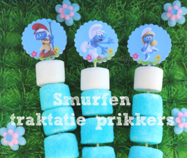Smurfen cupcake Toppers 2 inch