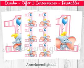 Dumbo cijfer Centerpieces Roze