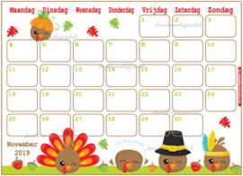 November 2019 kalender serie Kawaii
