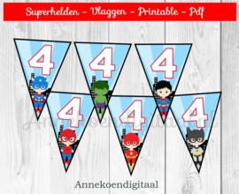 Superhelden Vlaggenlijn Cijfer