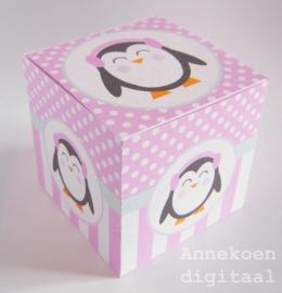 Pinguïn meisje traktatie doosje
