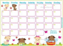 Juli 2020 kalender serie Dieren