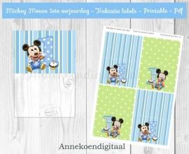 Mickey Mouse 1ste verjaardag  traktatie zakje label